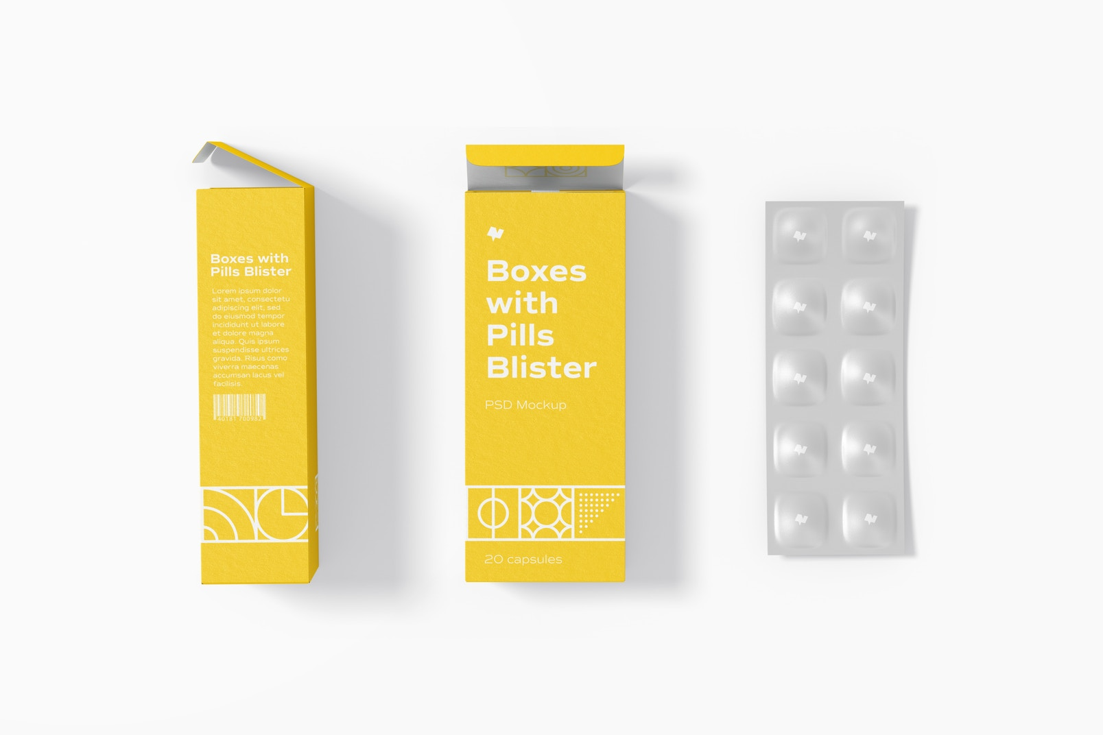 Boxes with Pills Blister Mockup, Side and Front View