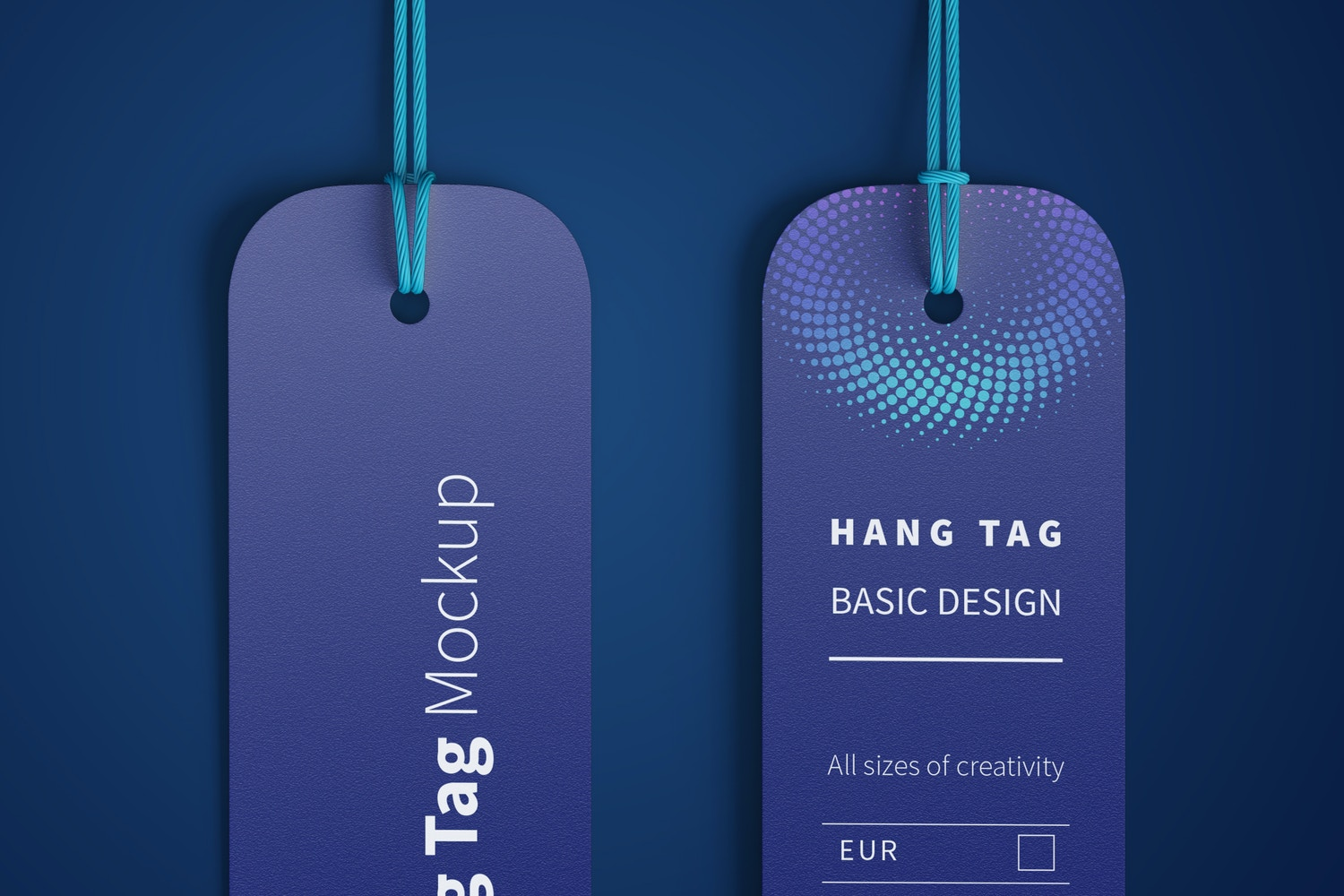 Mini Hang Tags Mockup with String, Two-sided