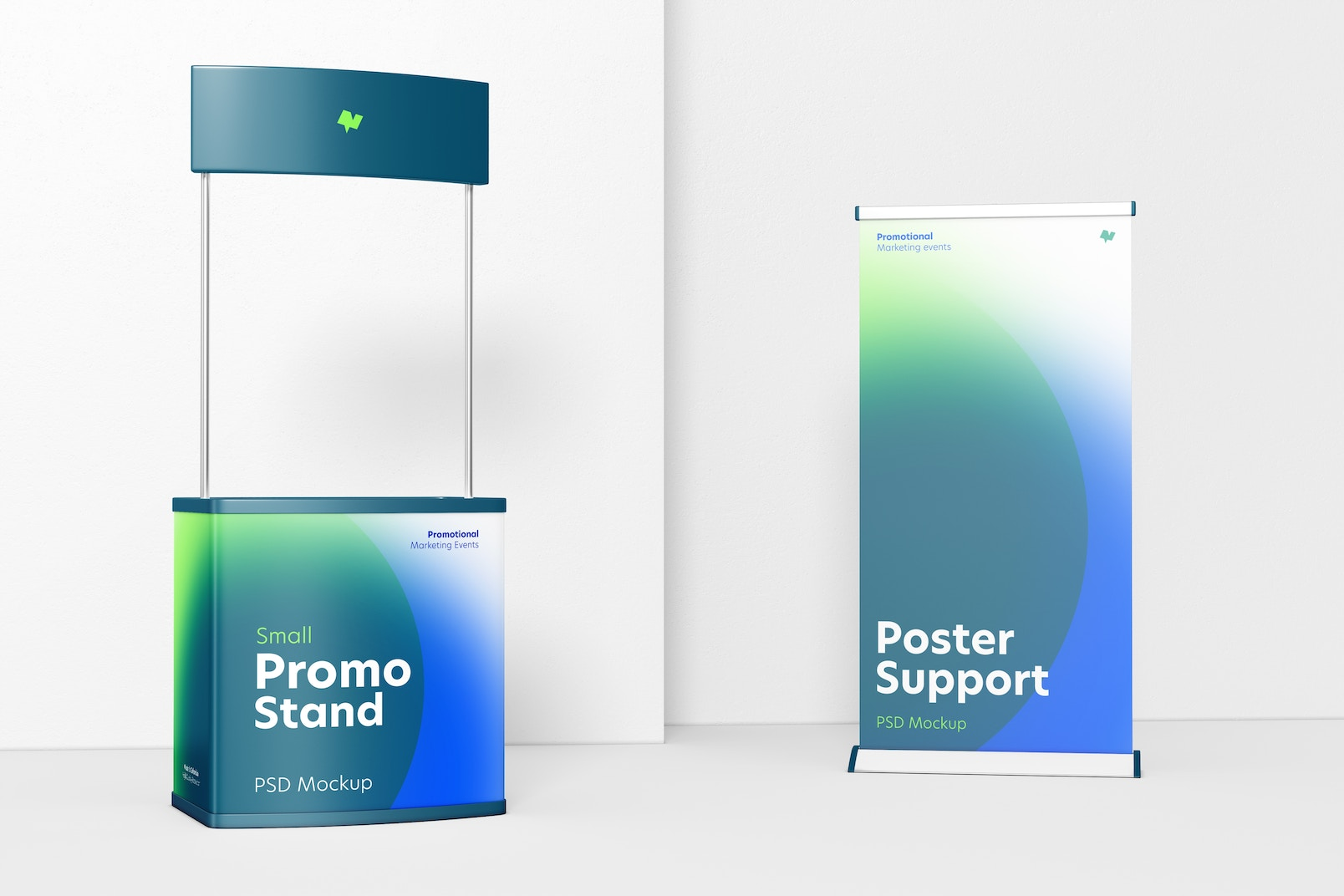 Small Promo with Roll-Up Banner Stand Mockup