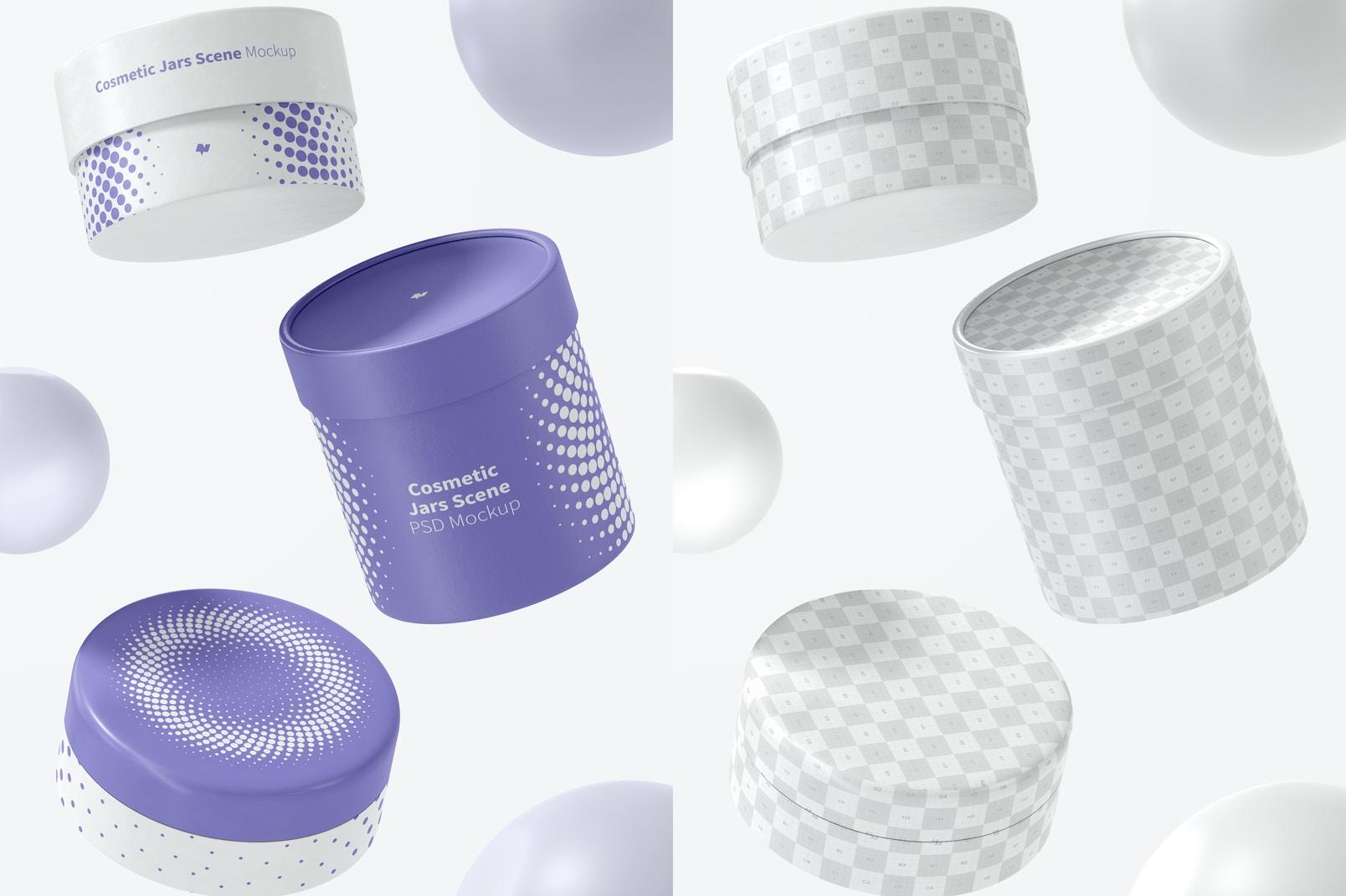 Cosmetic Jars Scene Mockup, Falling