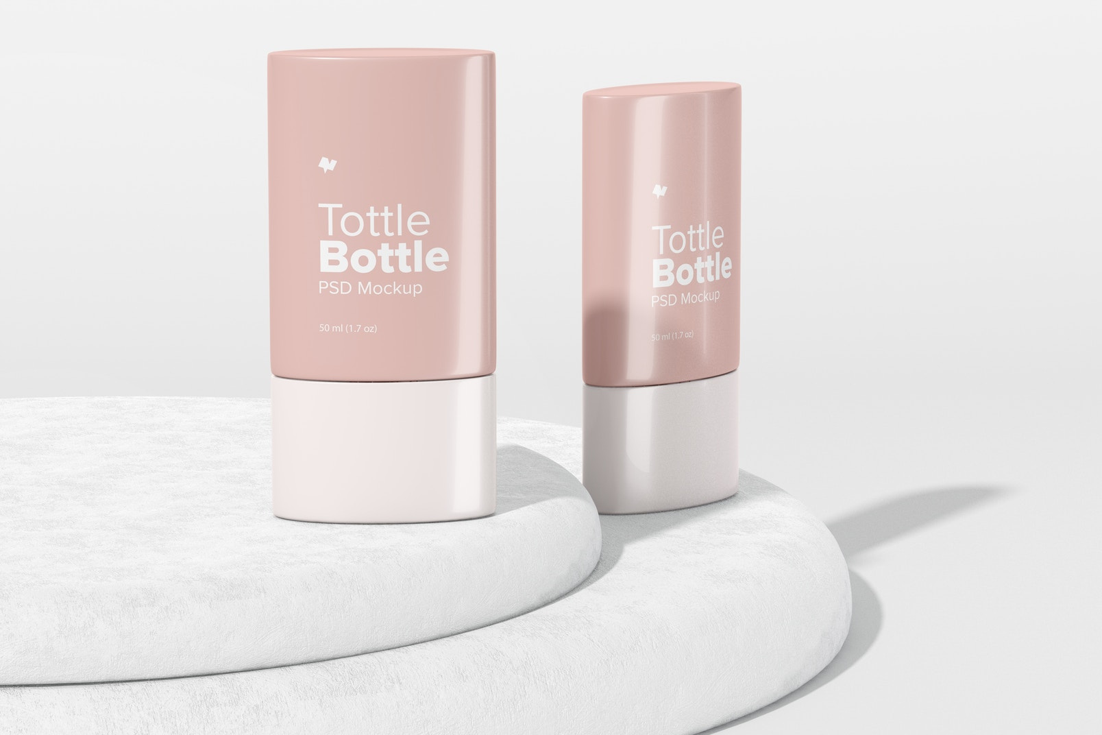 Tottle Bottles Mockup, Front and Side View