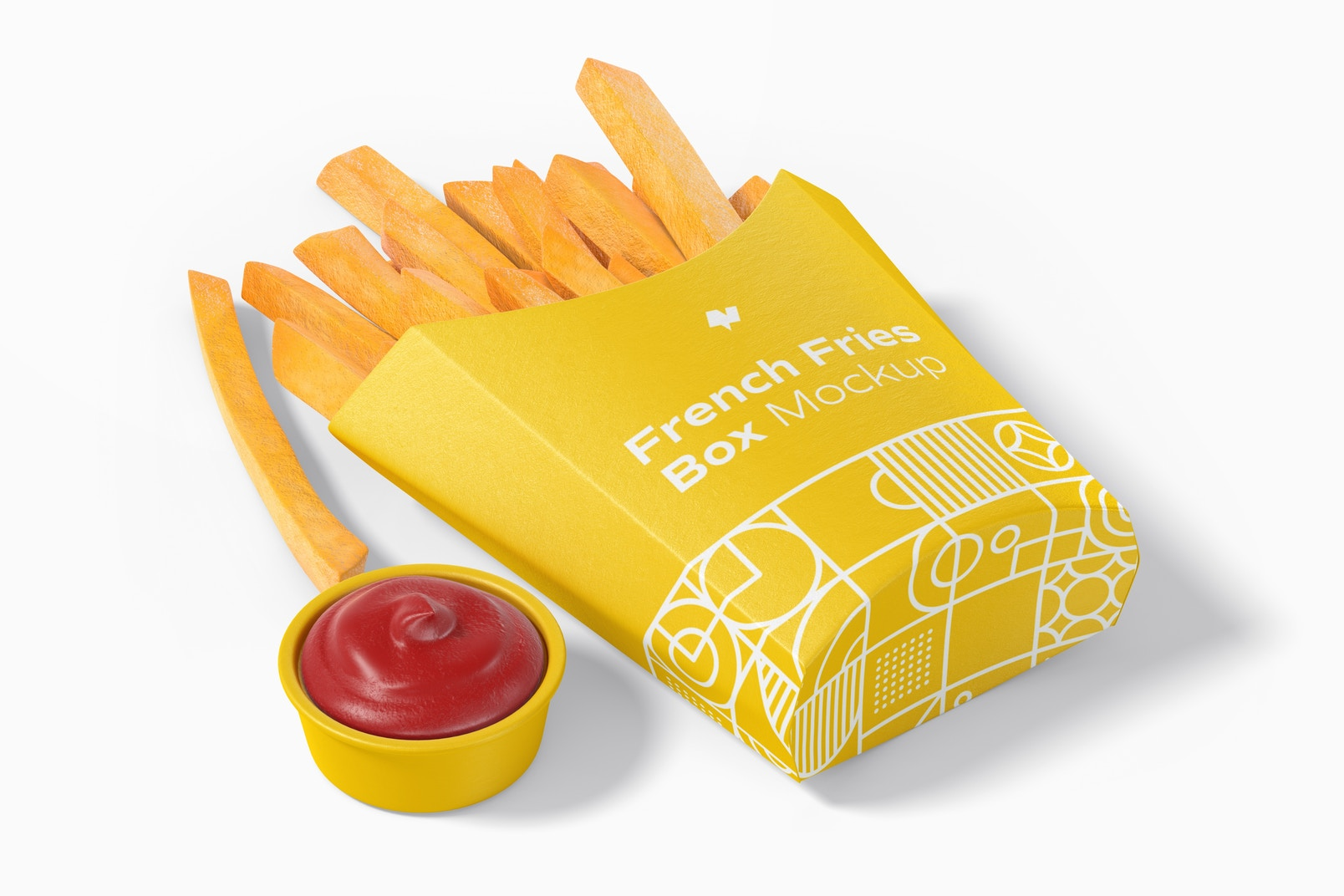 French Fries Box Mockup, Perspective
