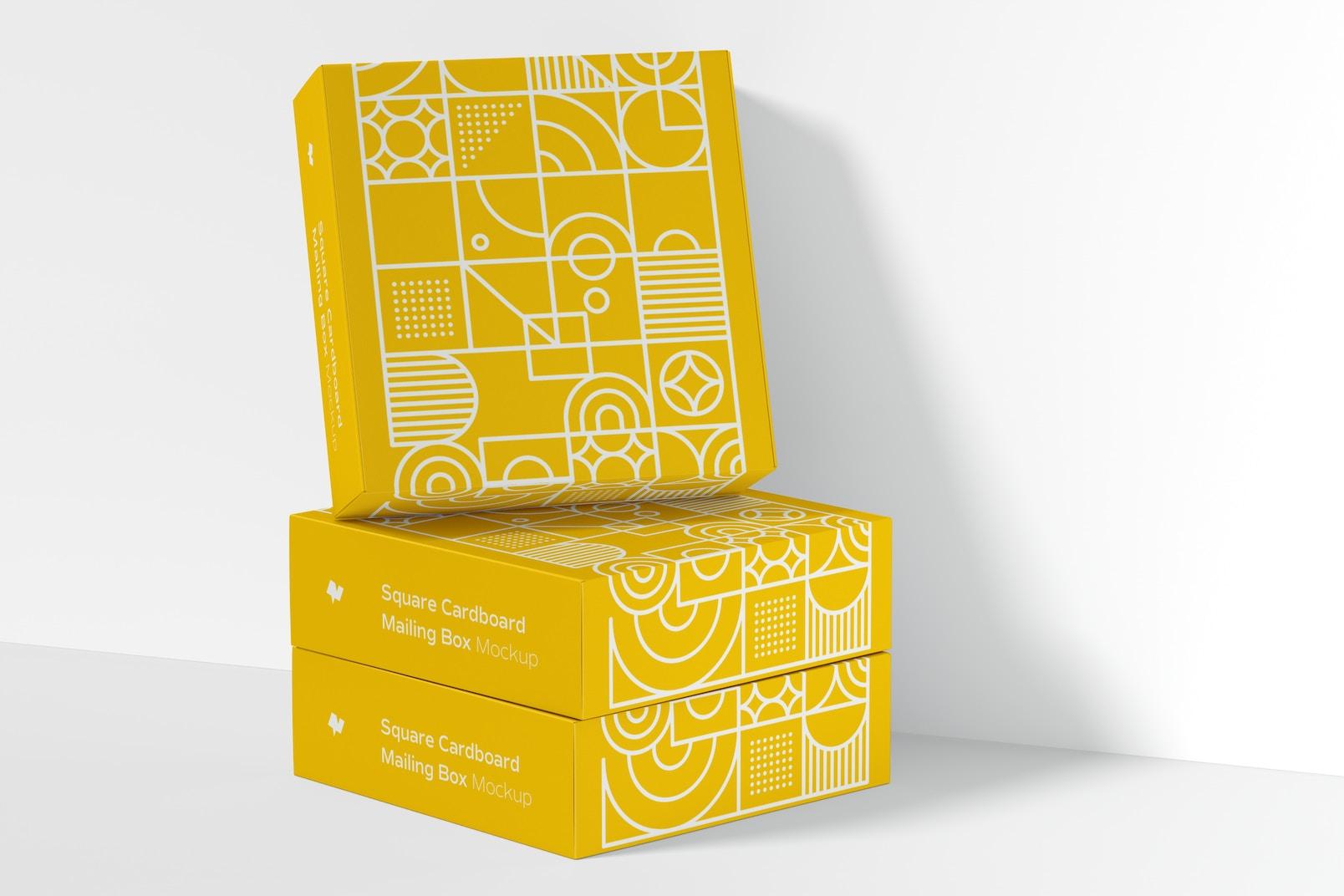 Square Cardboard Mailing Boxes Mockup, Closed