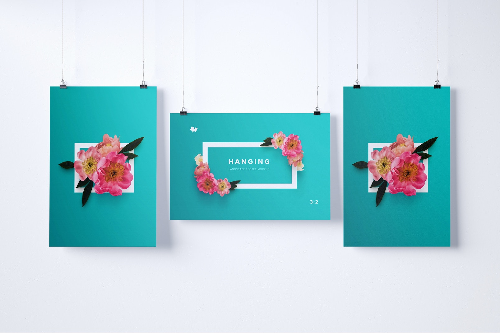 2:3 Three Hanging Posters Mockup