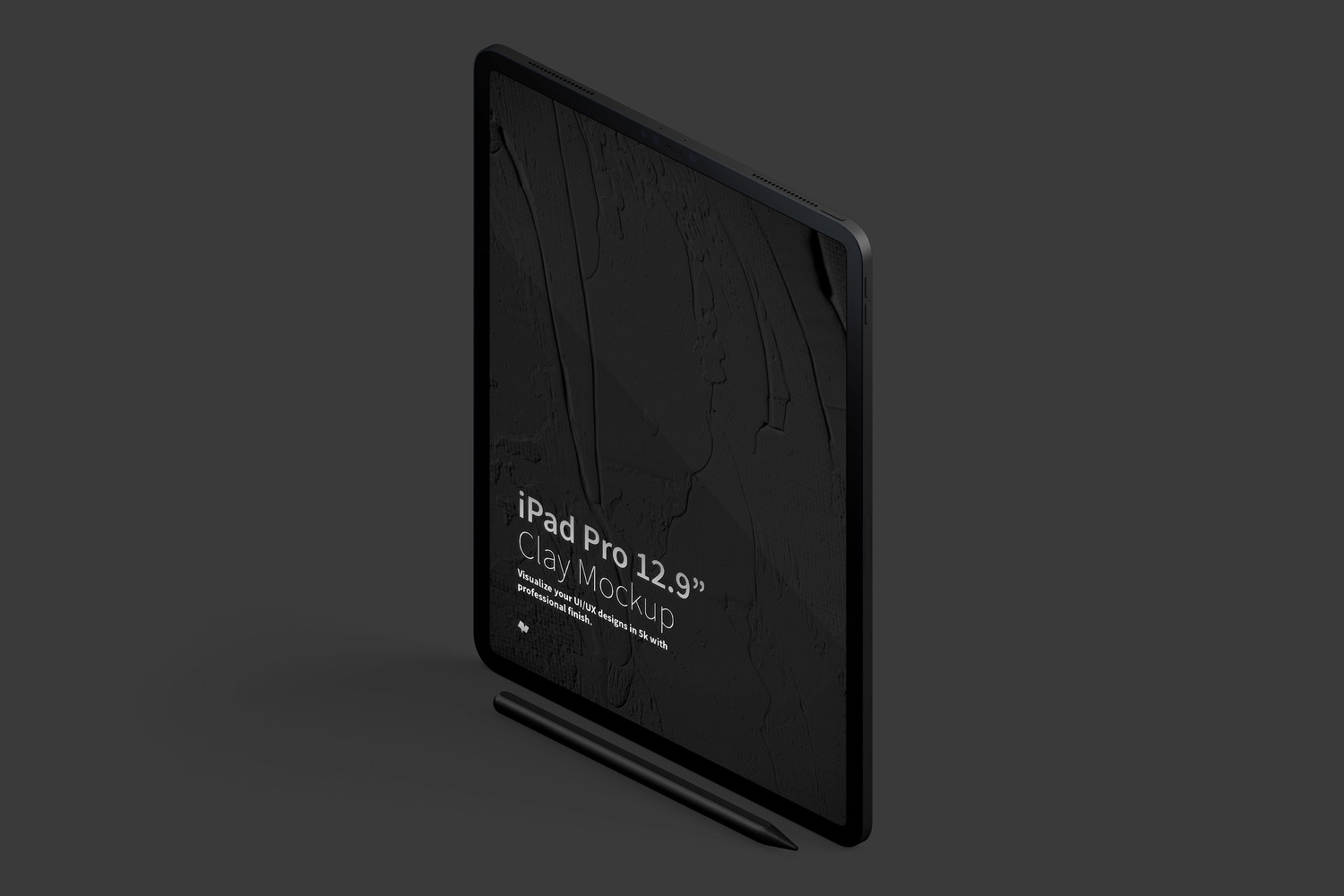 "Clay iPad Pro 12.9"" Mockup, Isometric Left View 02 (5) by Original Mockups on Original Mockups"