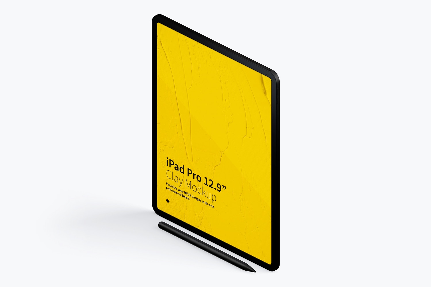 "Clay iPad Pro 12.9"" Mockup, Isometric Left View 02 (4) by Original Mockups on Original Mockups"