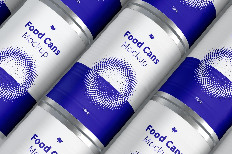 580g Food Cans Set Mockup