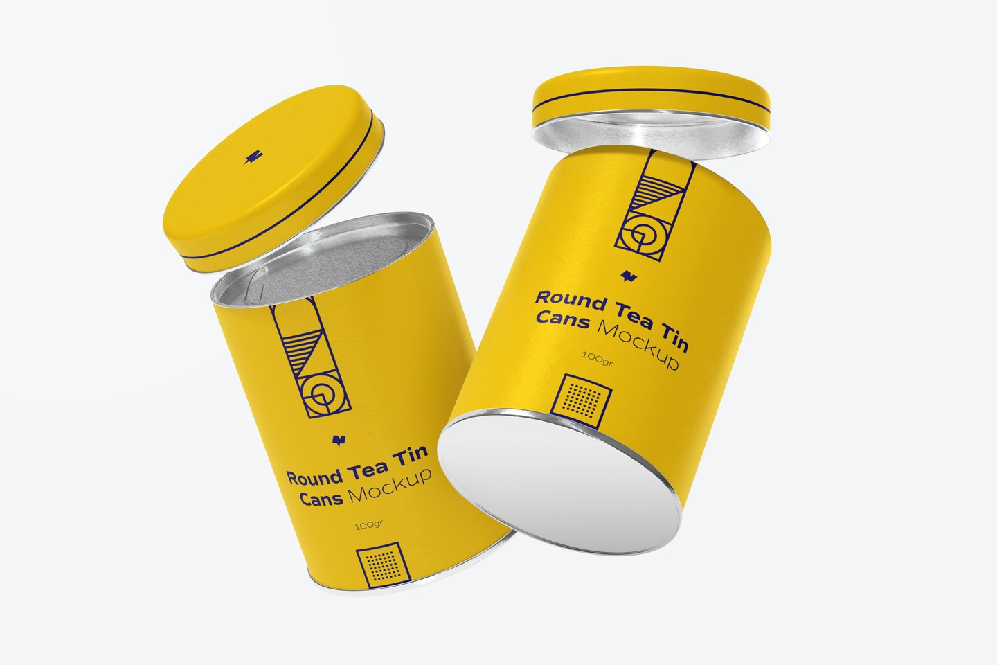 Round Tea Tin Cans Mockup, Floating