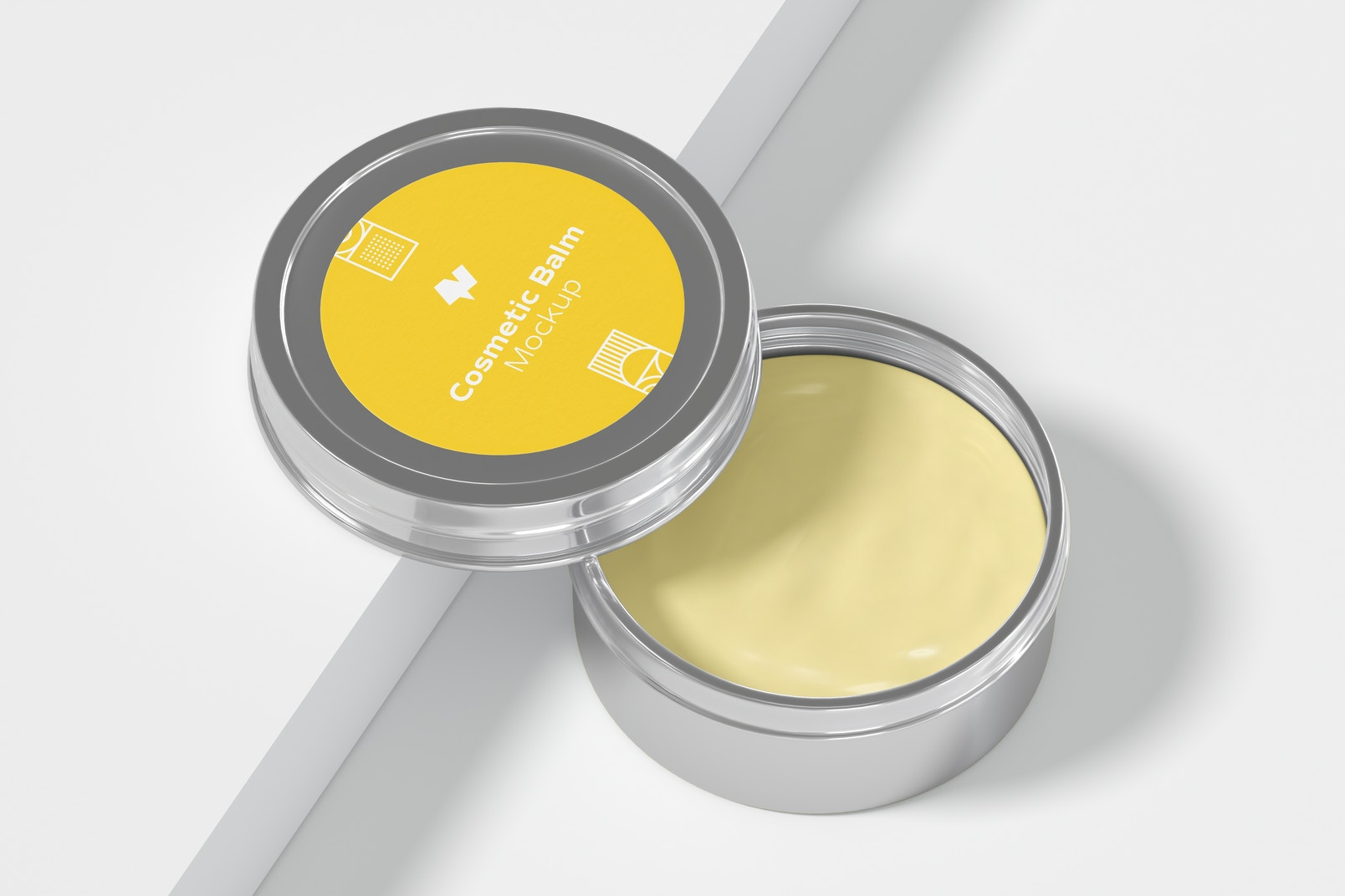 Metallic Cosmetic Balm Packaging Mockup, Open