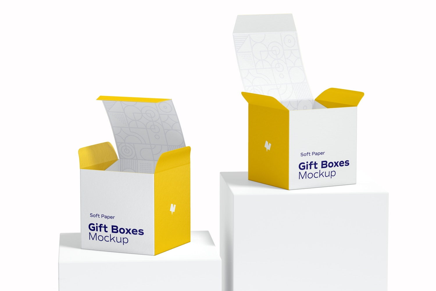 Soft Paper Gift Boxes Mockup, Front View