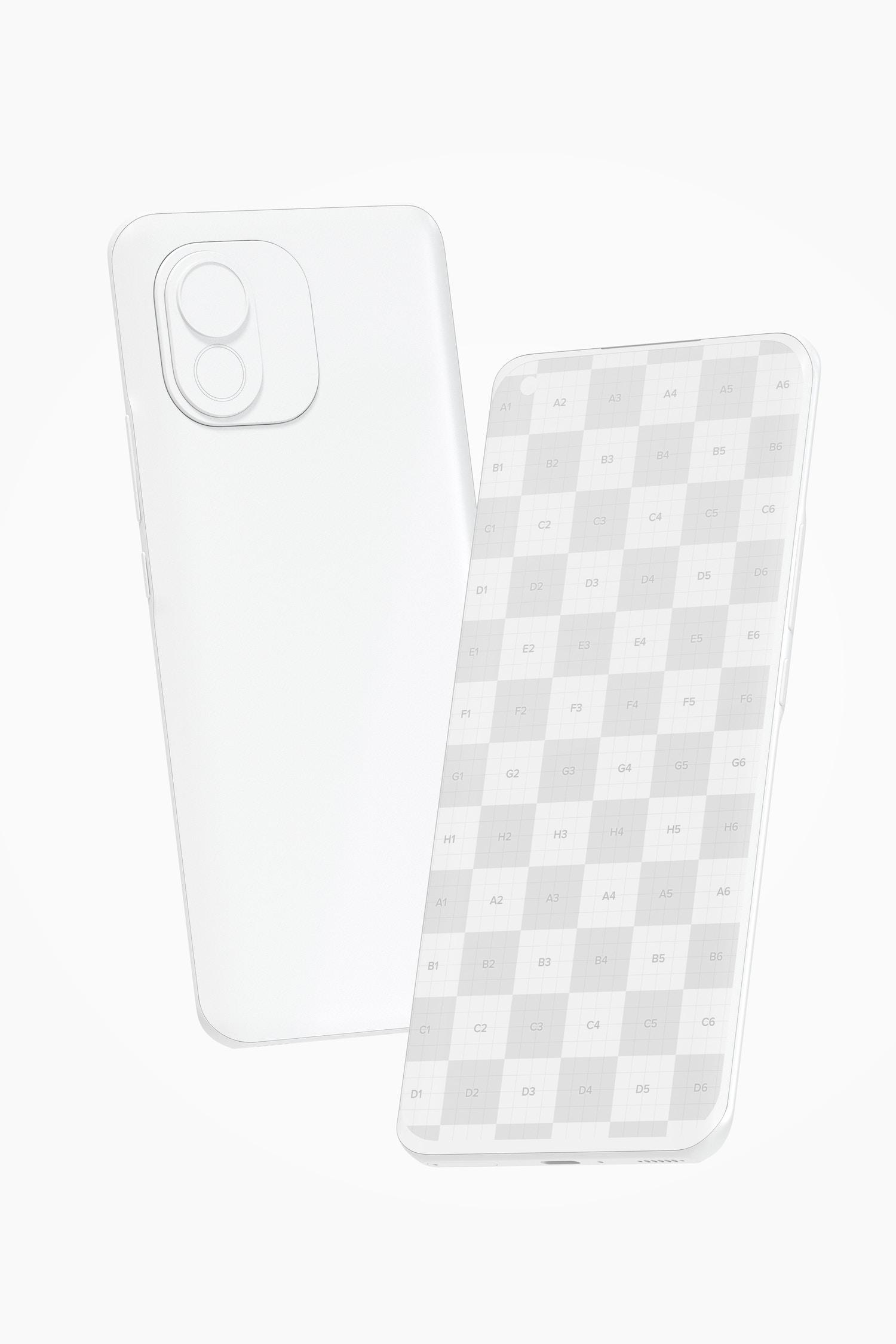 Clay Xiaomi Smartphones Mockup, Floating