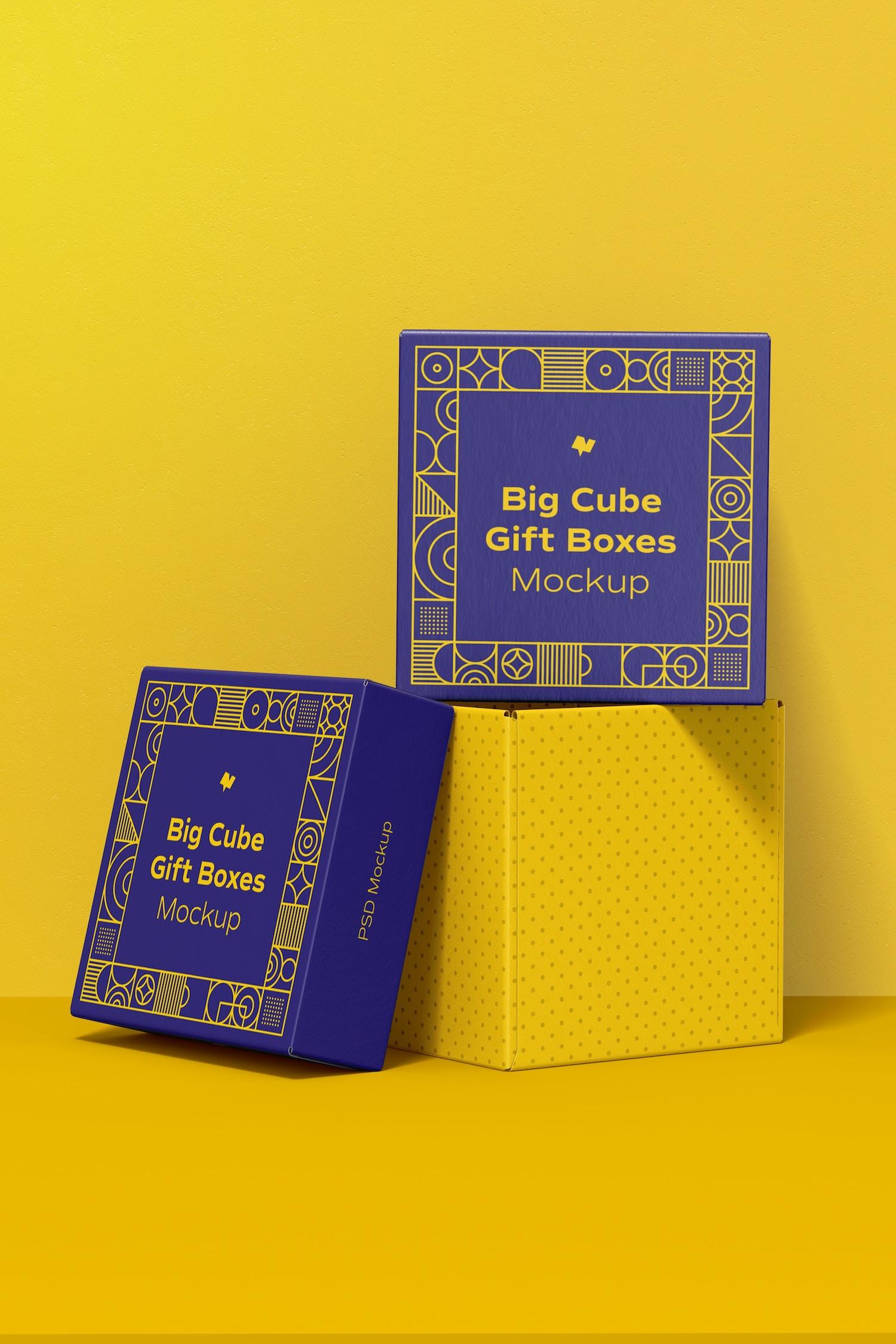 Big Cube Gift Boxes Mockup, Stacked