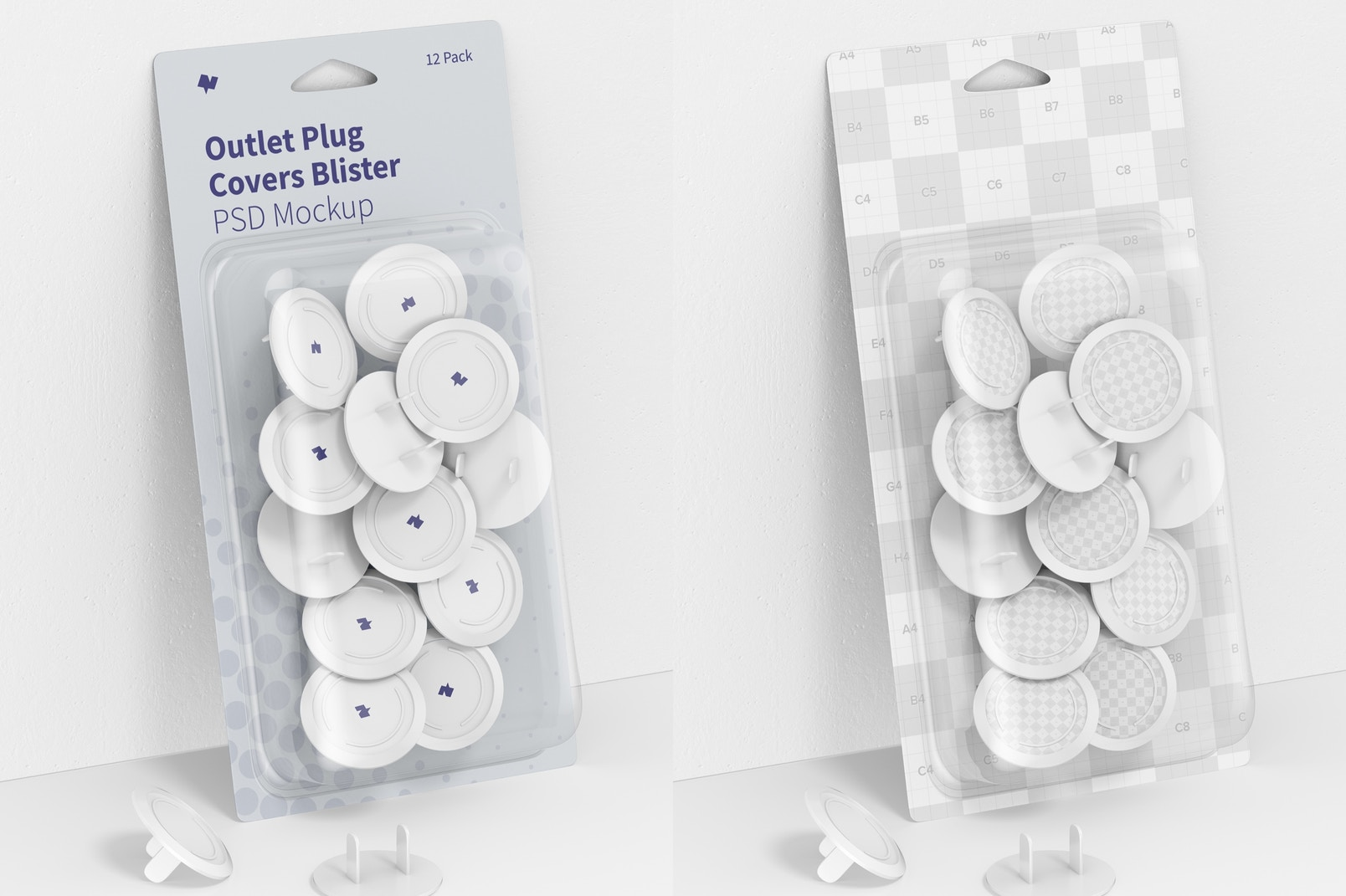 Outlet Plug Covers Blister Mockup, Leaned