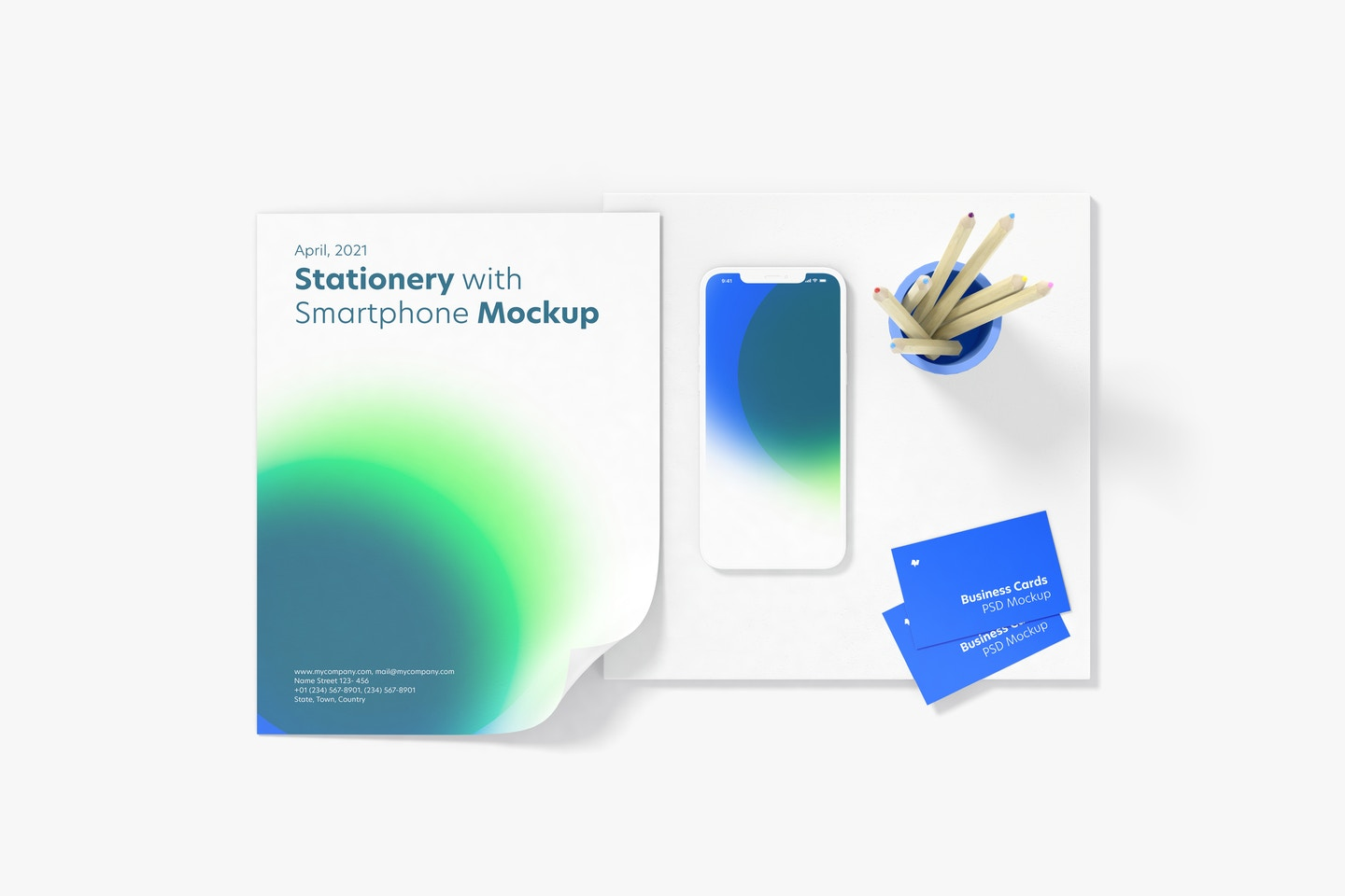 Stationery with Smartphone Mockup, Top View