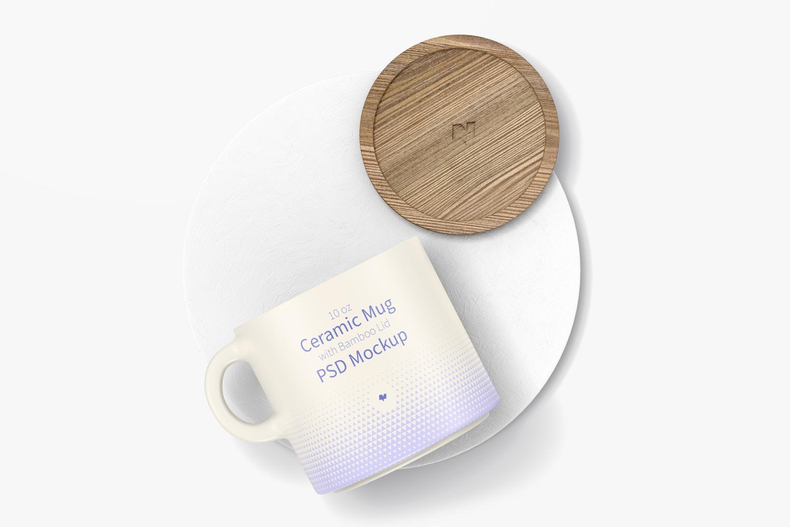 Maqueta de Mug de 10 oz con Tapa de Bambú, Vista Superior