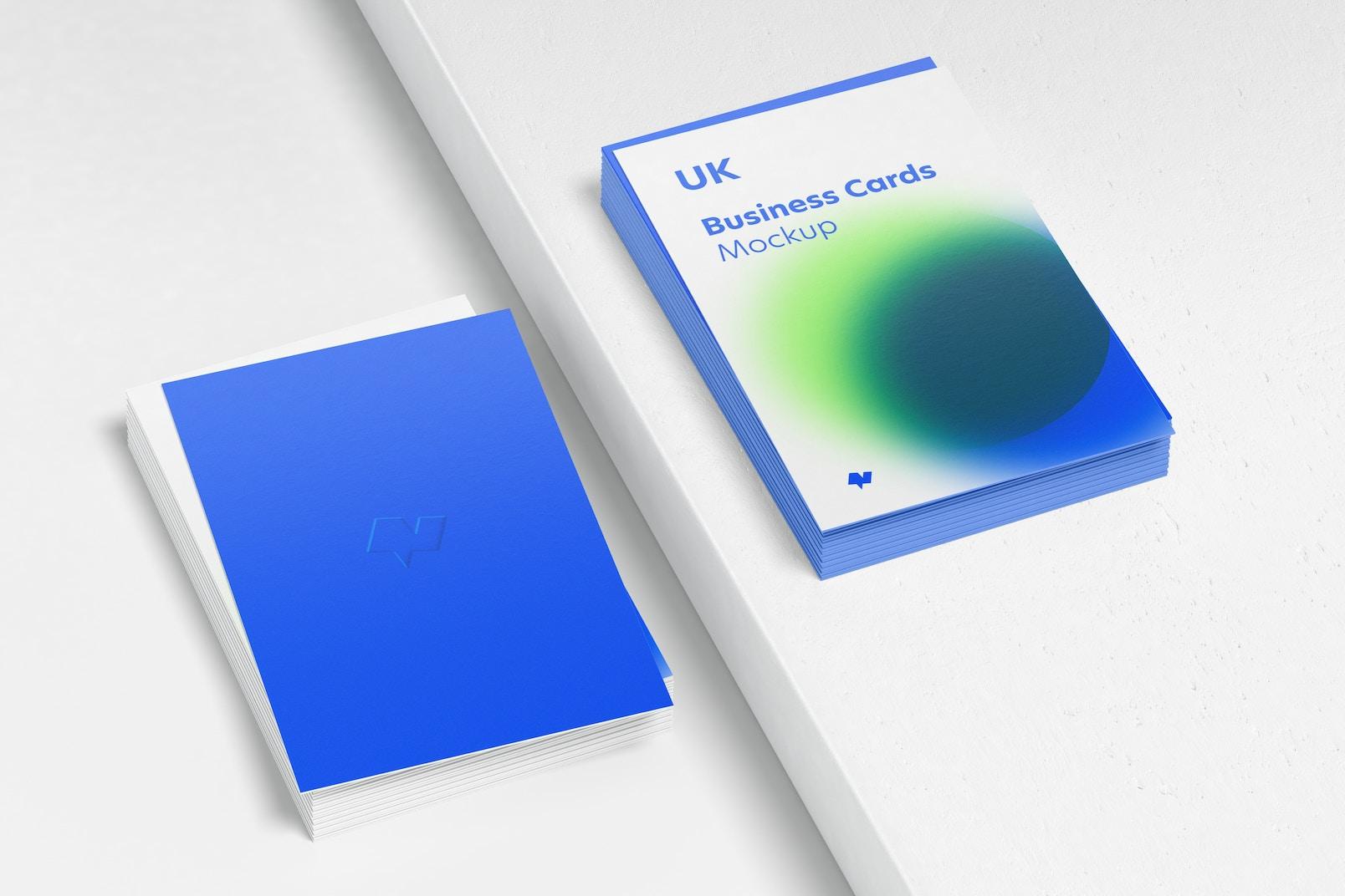 UK Portrait Business Cards Mockup, Stacked Set