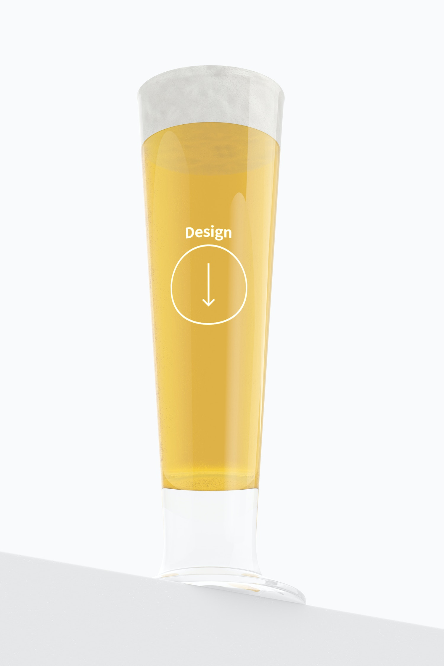 14 oz Glass Beer Cup Mockup, Bottom Front View