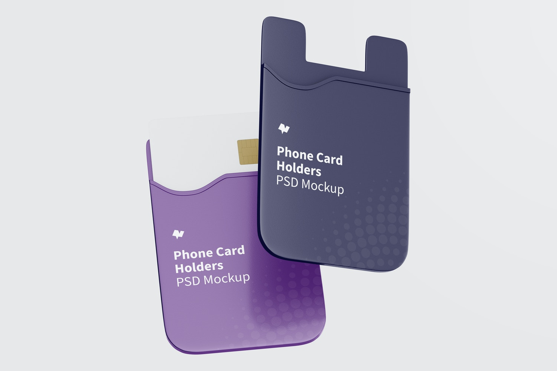 Phone Card Holder Mockup, Falling