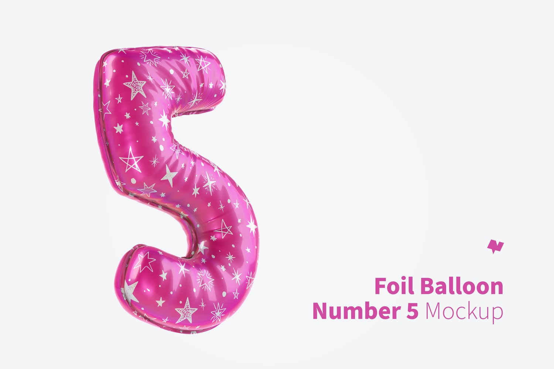 Number 5 Foil Balloon Mockup