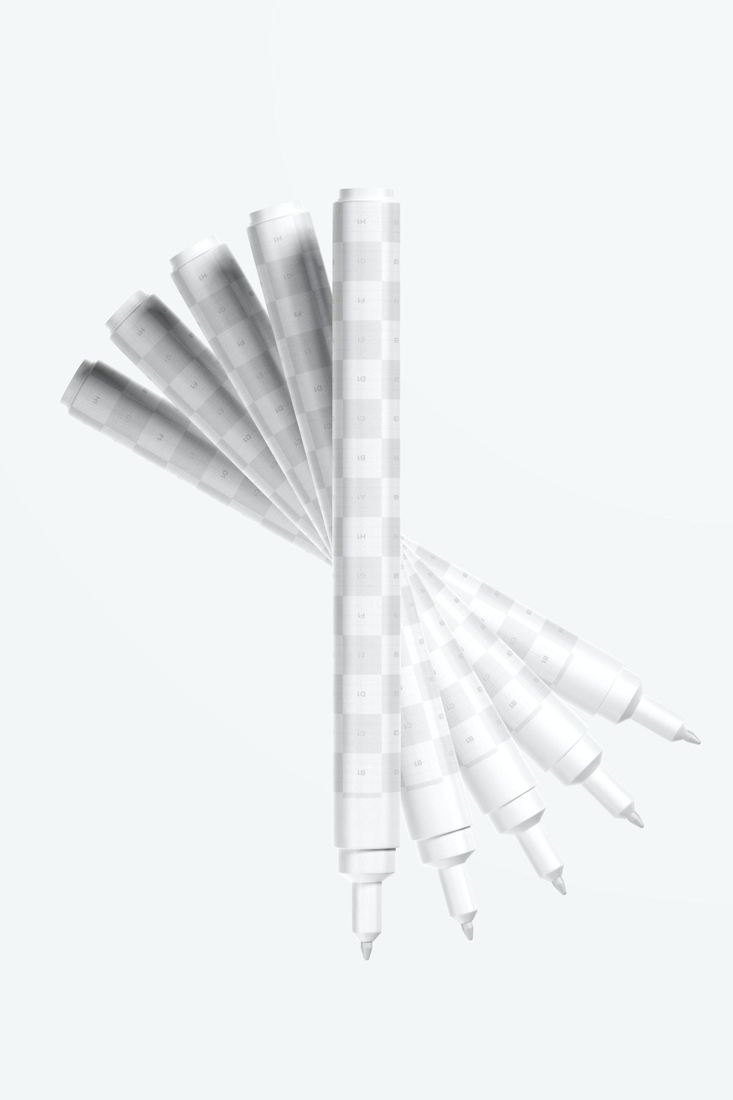 Matte Plastic Marker Pens Set Mockup