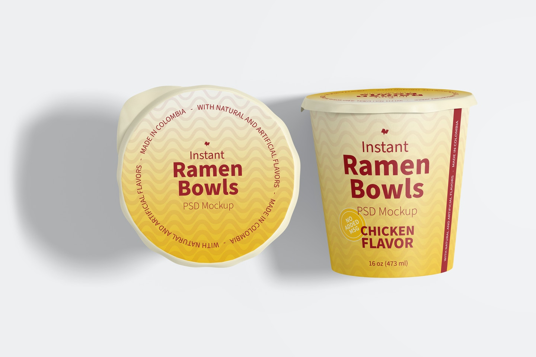 Instant Ramen Bowls Mockup, Top View