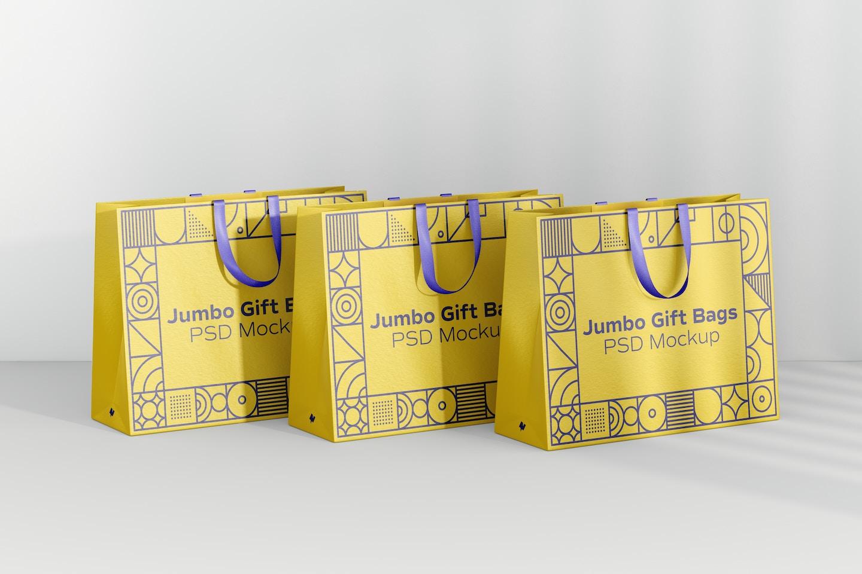 Jumbo Gift Bags with Ribbon Handle Set Mockup