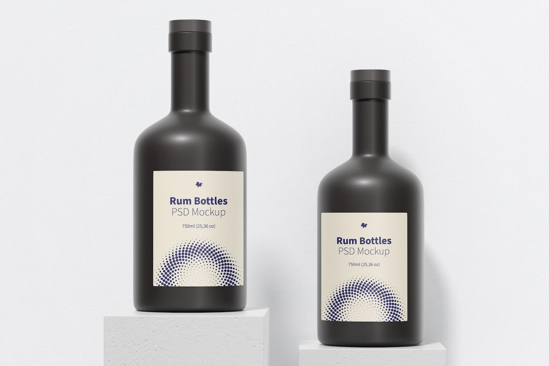 Rum Bottles Mockup, Perspective