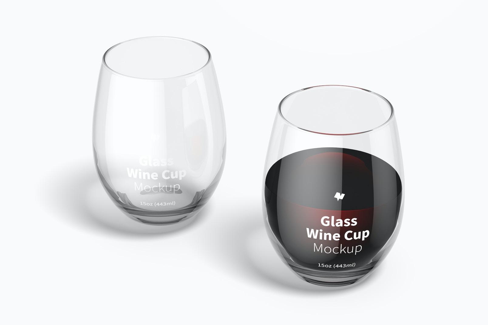 15 oz Glass Wine Cups Mockup