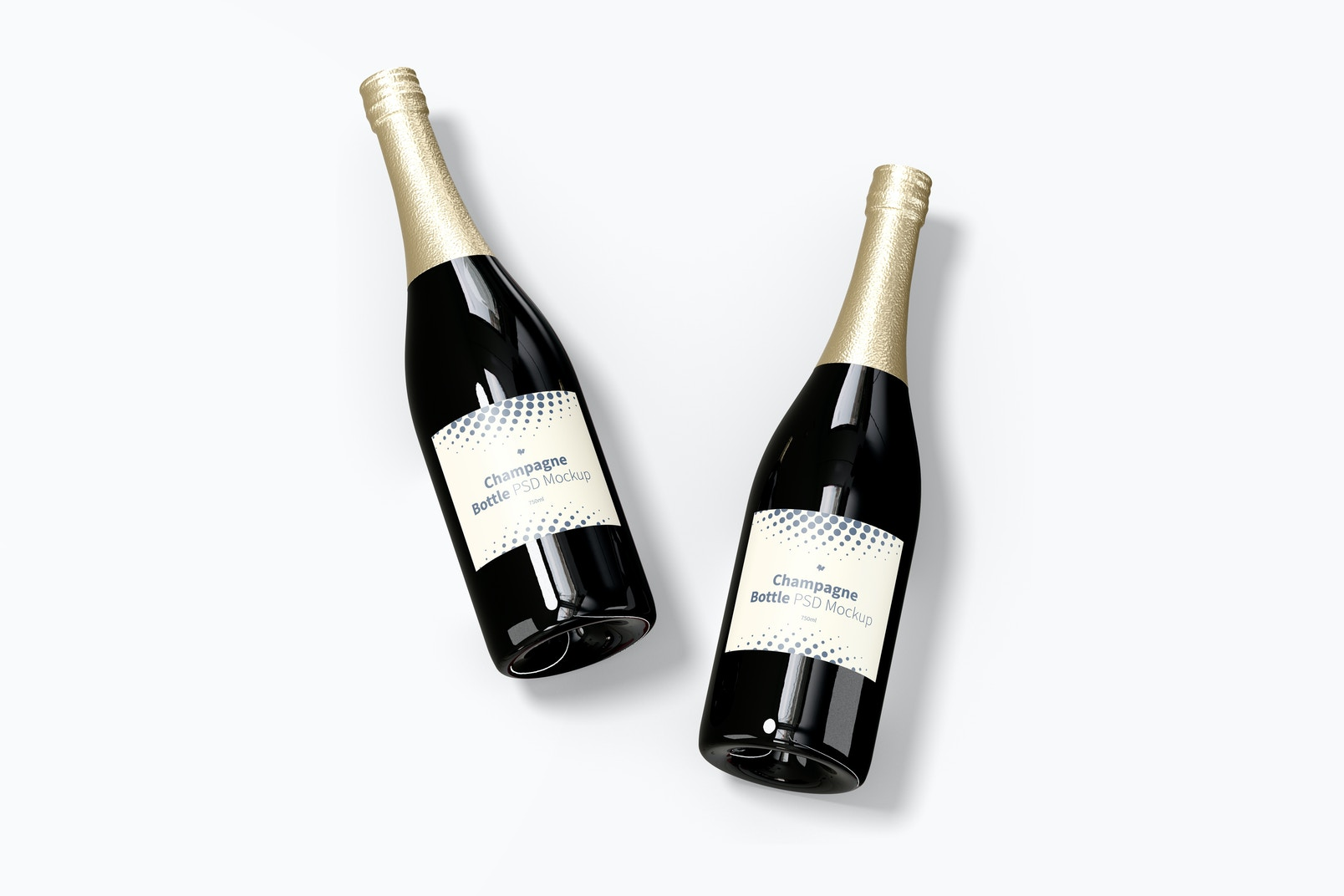 Champagne Bottles Mockup, Top View