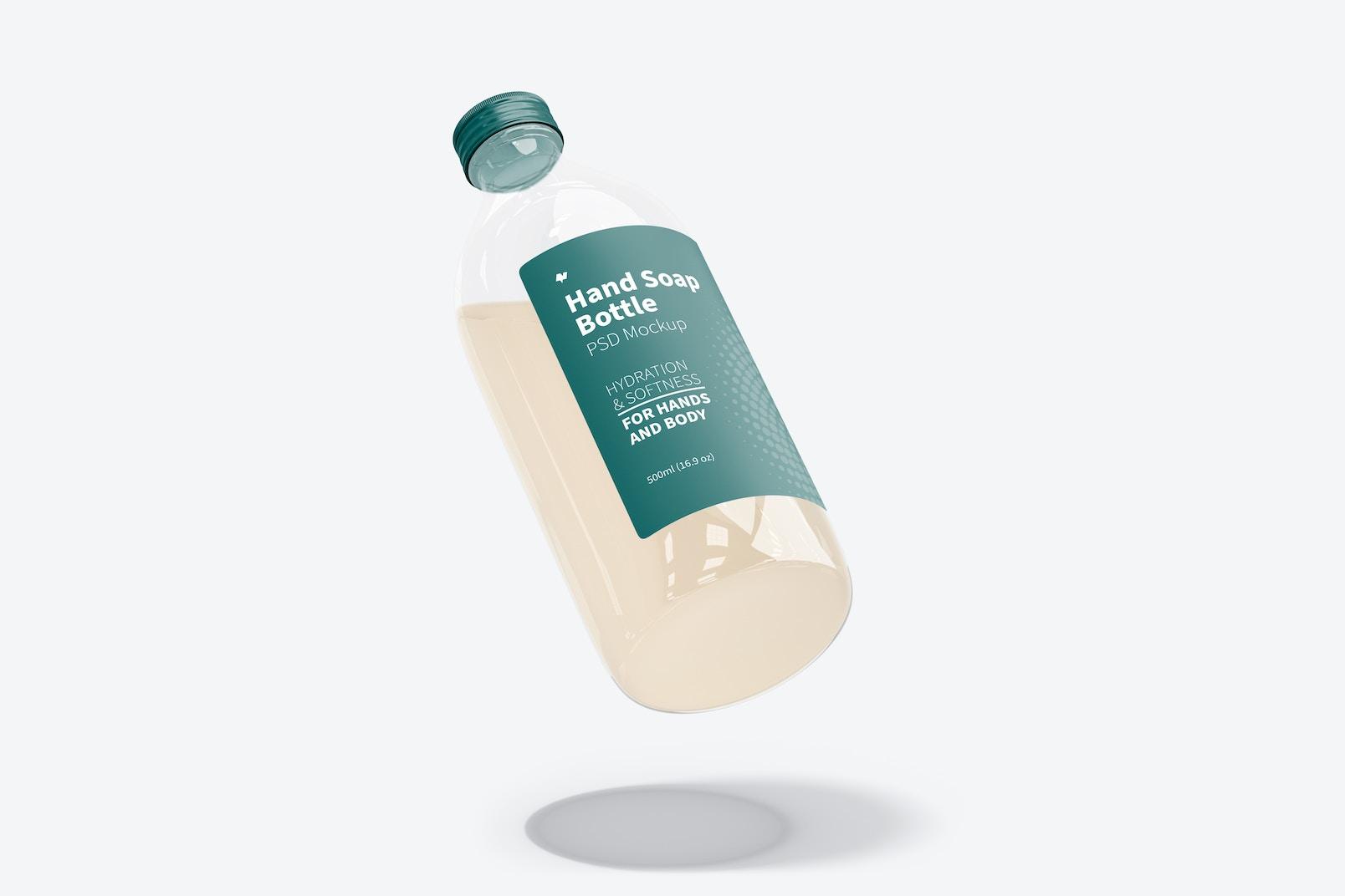 Hand Soap Clear Bottle Mockup, Floating