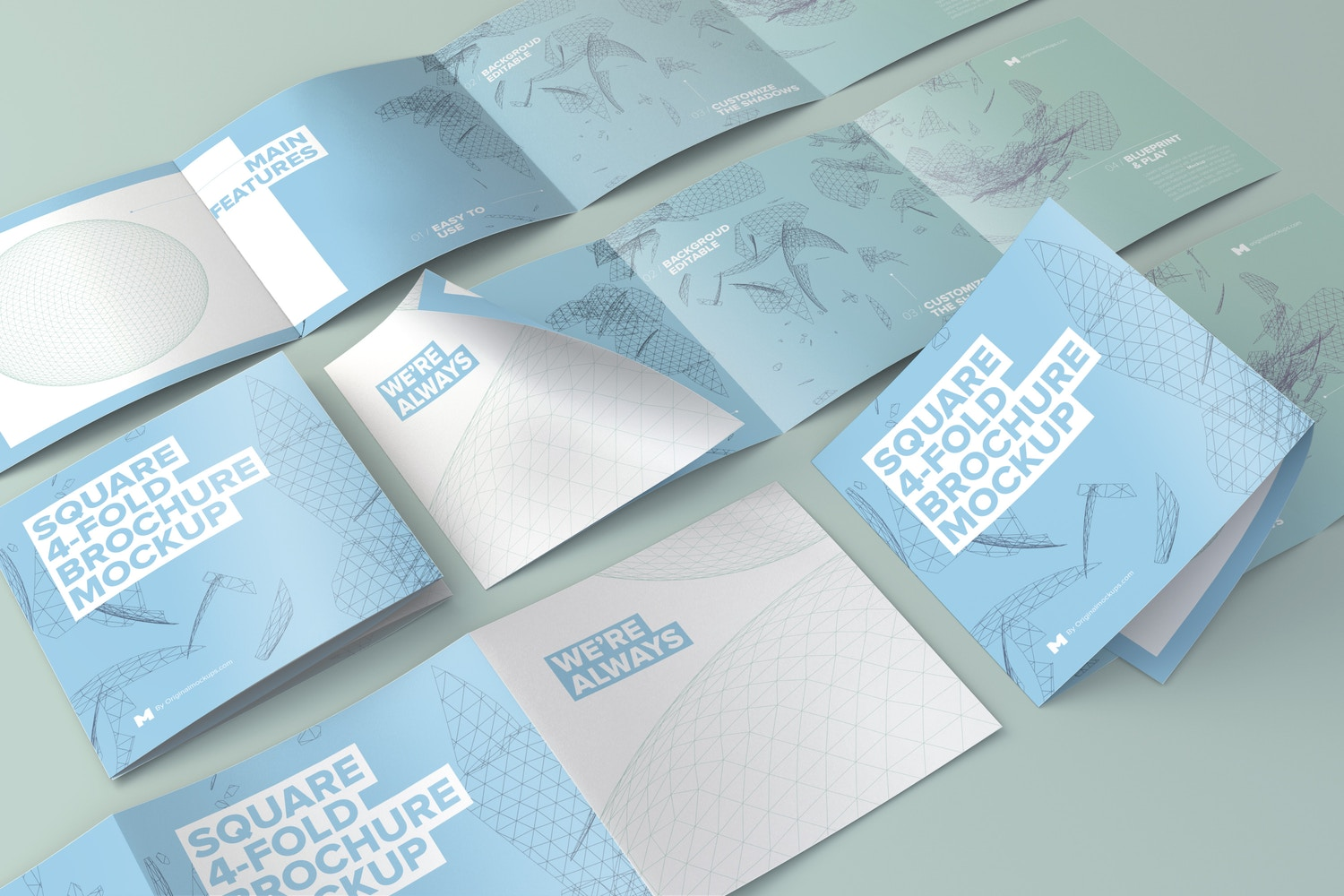 Square 4-Fold Brochure Grid Layout Mockup - Custom Background