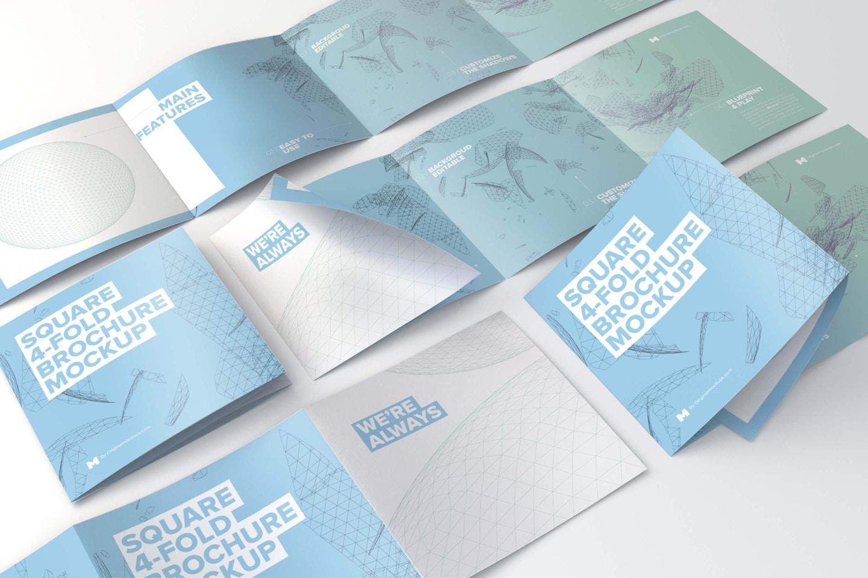 Square 4-Fold Brochure Grid Layout Mockup