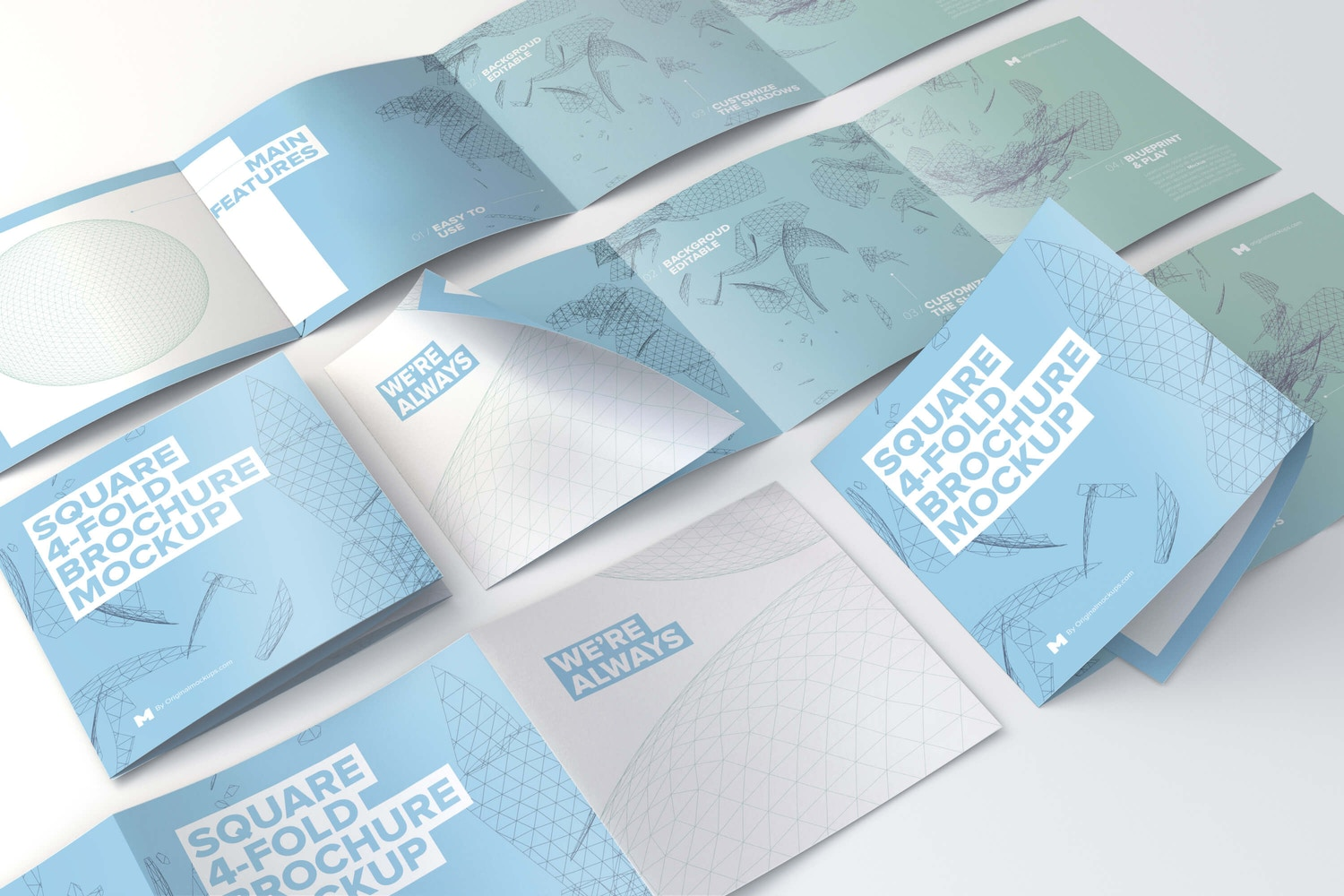 Square 4-Fold Brochure Grid Layout Mockup by Original Mockups on Original Mockups