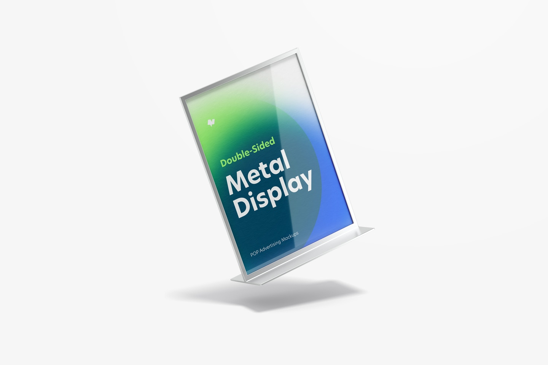 Double-Sided Poster Metal Desktop Display Mockup, Falling