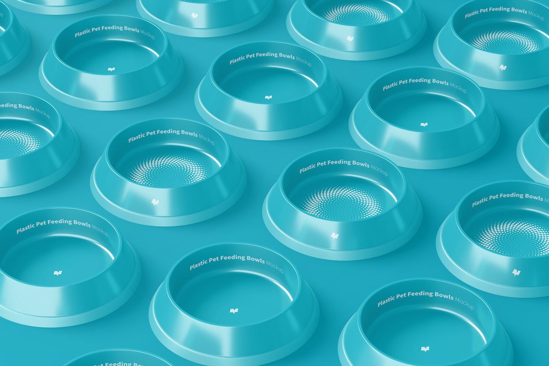 Plastic Pet Feeding Bowls Sets Mockup