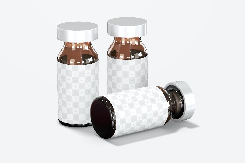 Amber Glass Medicine Vial Bottles Mockup, Dropped