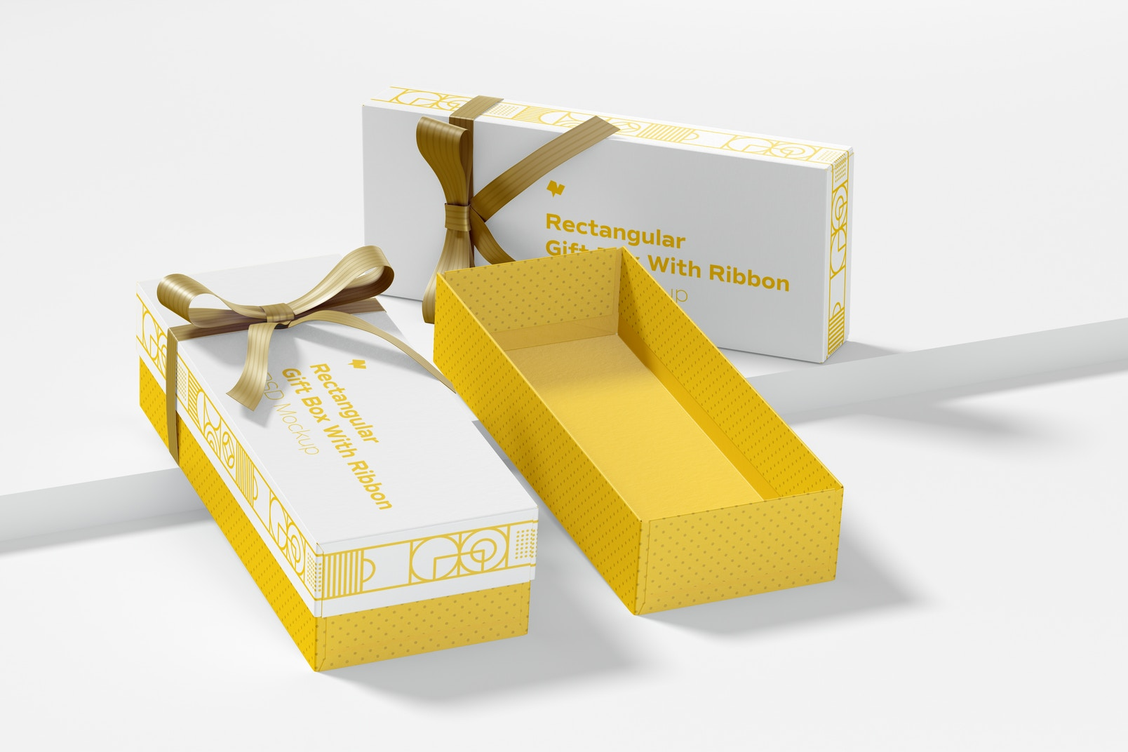 Rectangular Gift Boxes With Ribbon Mockup
