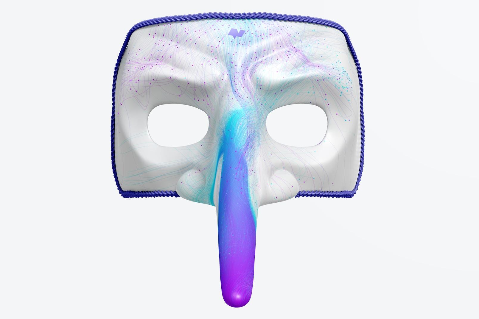 Long Nose Venetian Mask Mockup, Front View