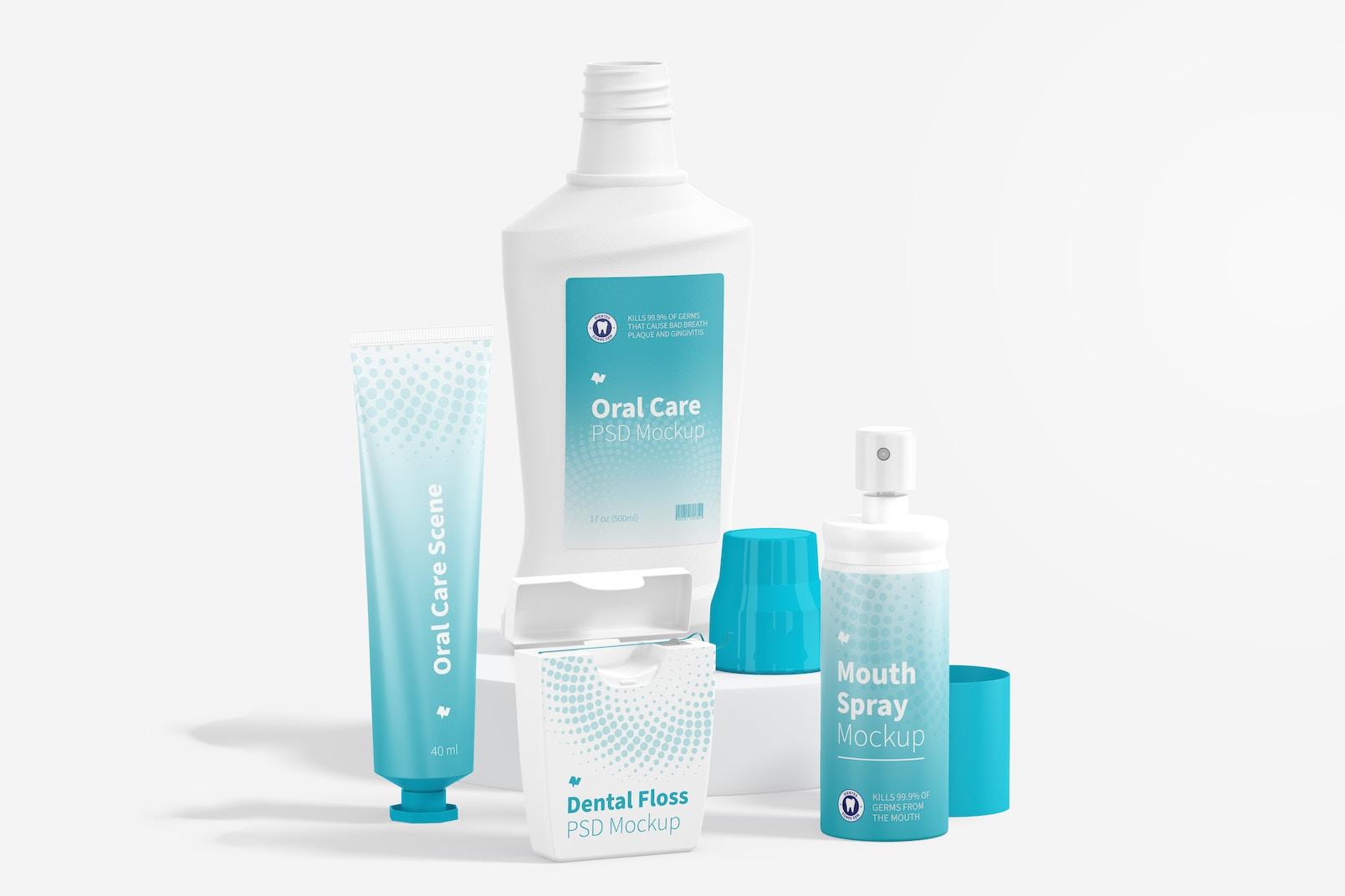 Oral Care Scene Mockup, Leaned