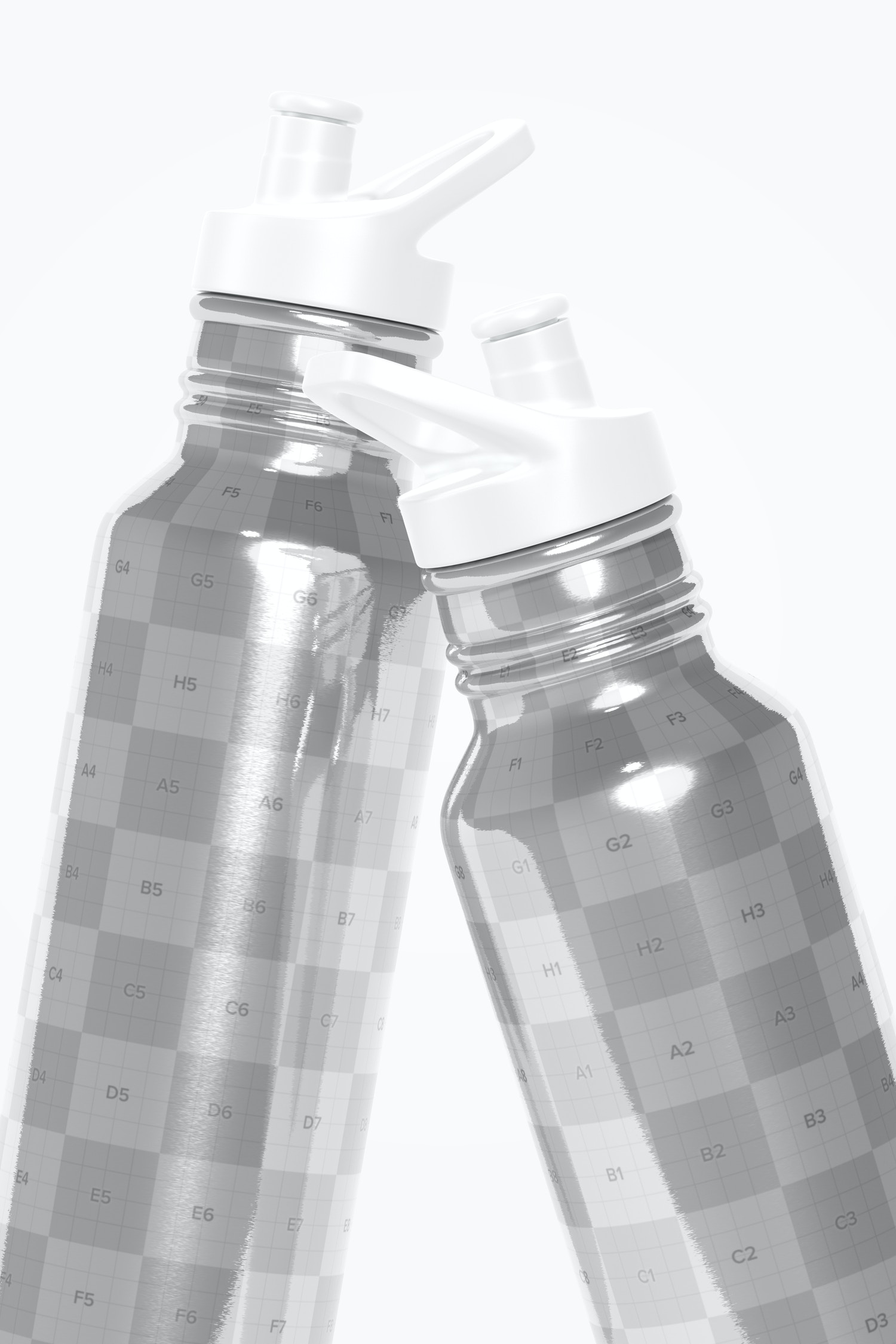 Bottles with Sport Cap Mockup, Close Up