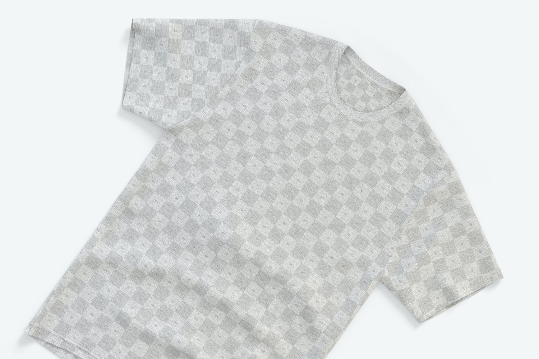 Men's Tri-Blend Short Sleeve Crew T-Shirt Mockup, Top View 02