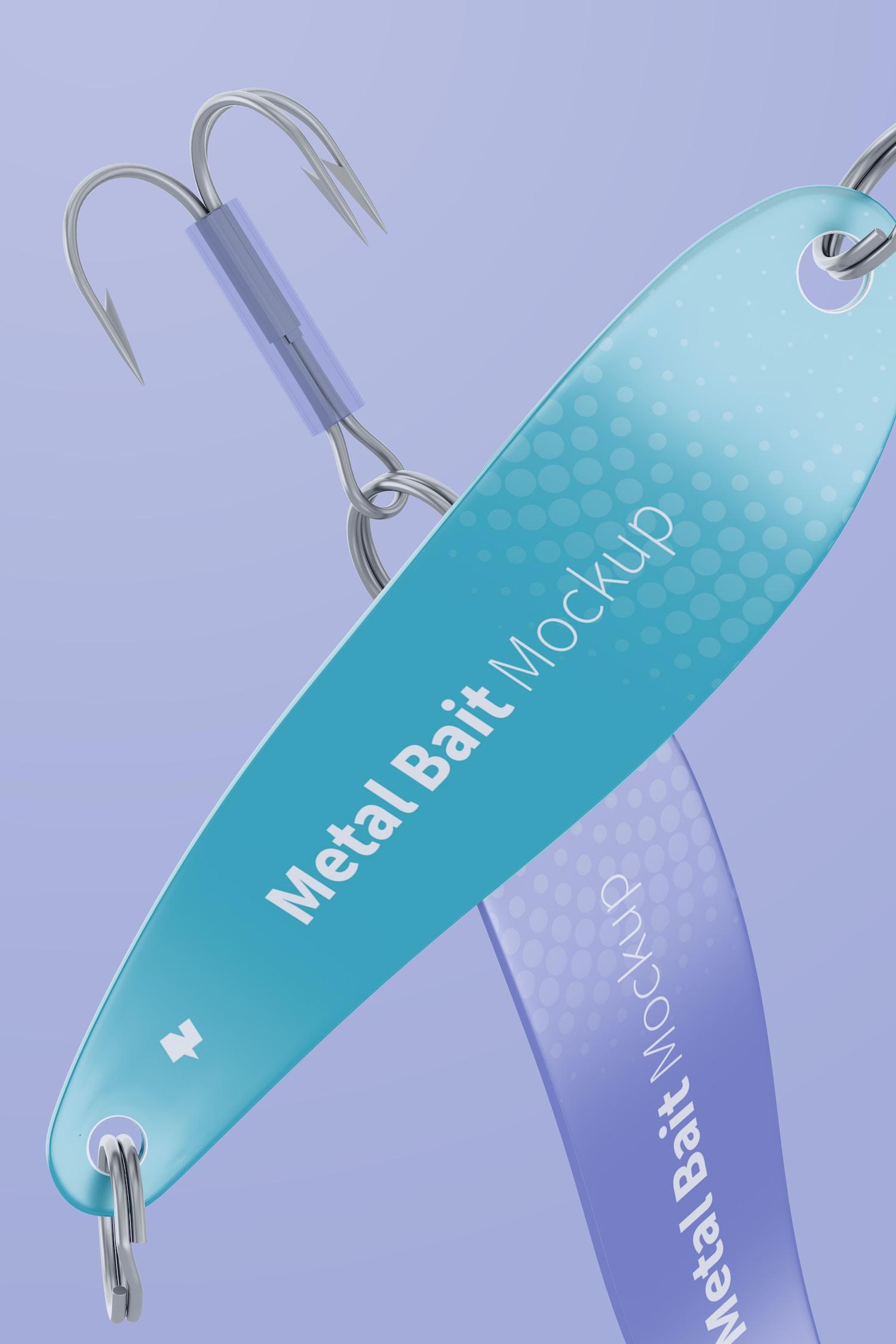 Metal Spoon Baits Mockup, Close Up
