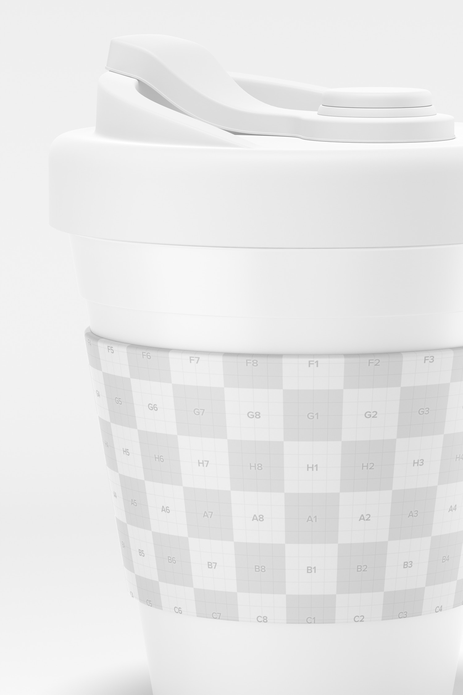 Coffee Cup with Lid Mockup, Close Up