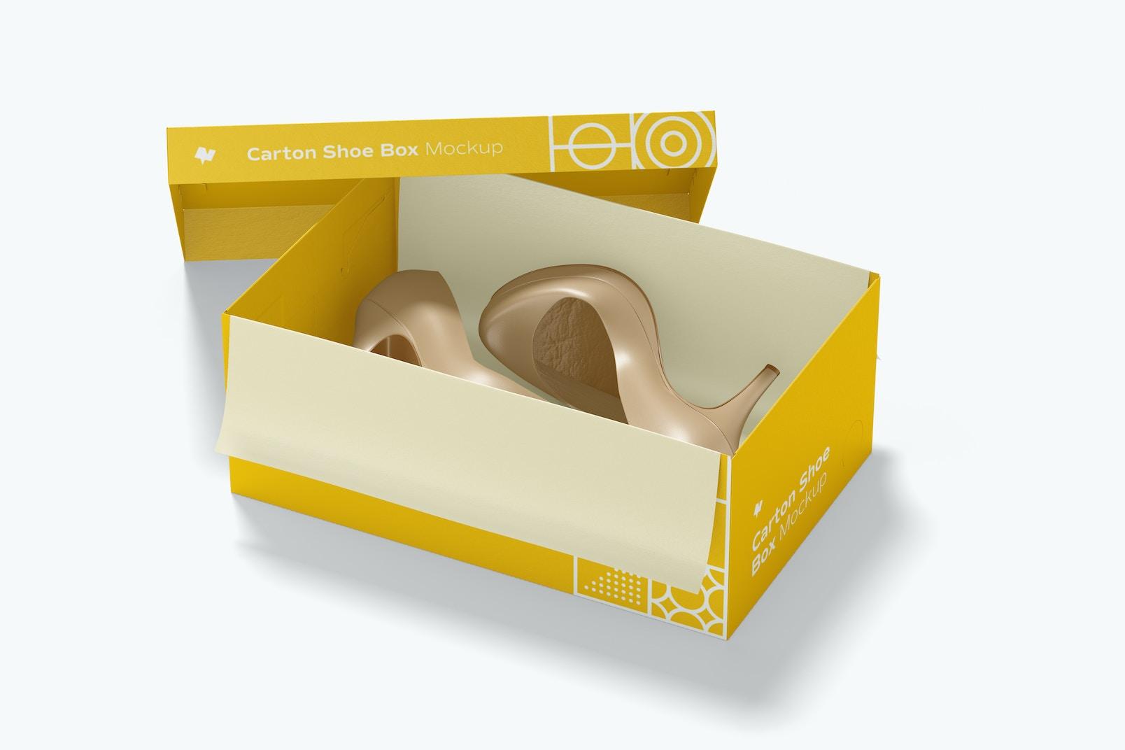 Carton Shoe Box Mockup, Perspective