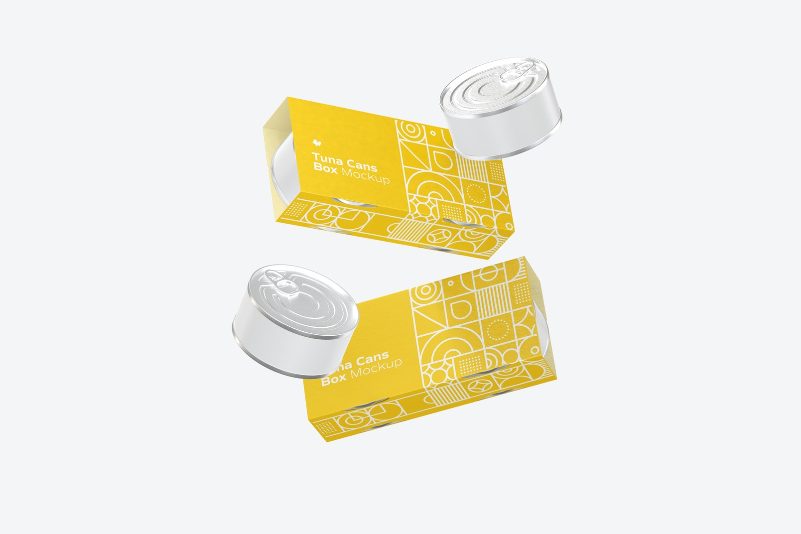 Tuna Cans Boxes Mockup, Floating