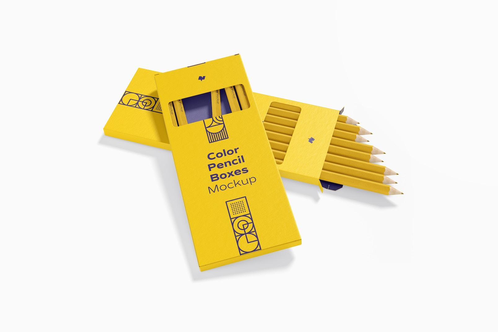 Color Pencil Boxes Mockup