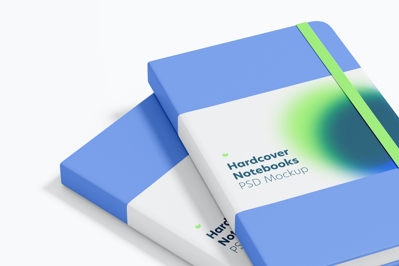 Hardcover Notebooks with Elastic Band Mockup, Close Up