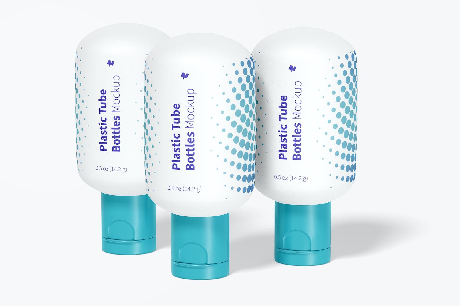 1/2 oz Plastic Tube Bottles Set Mockup