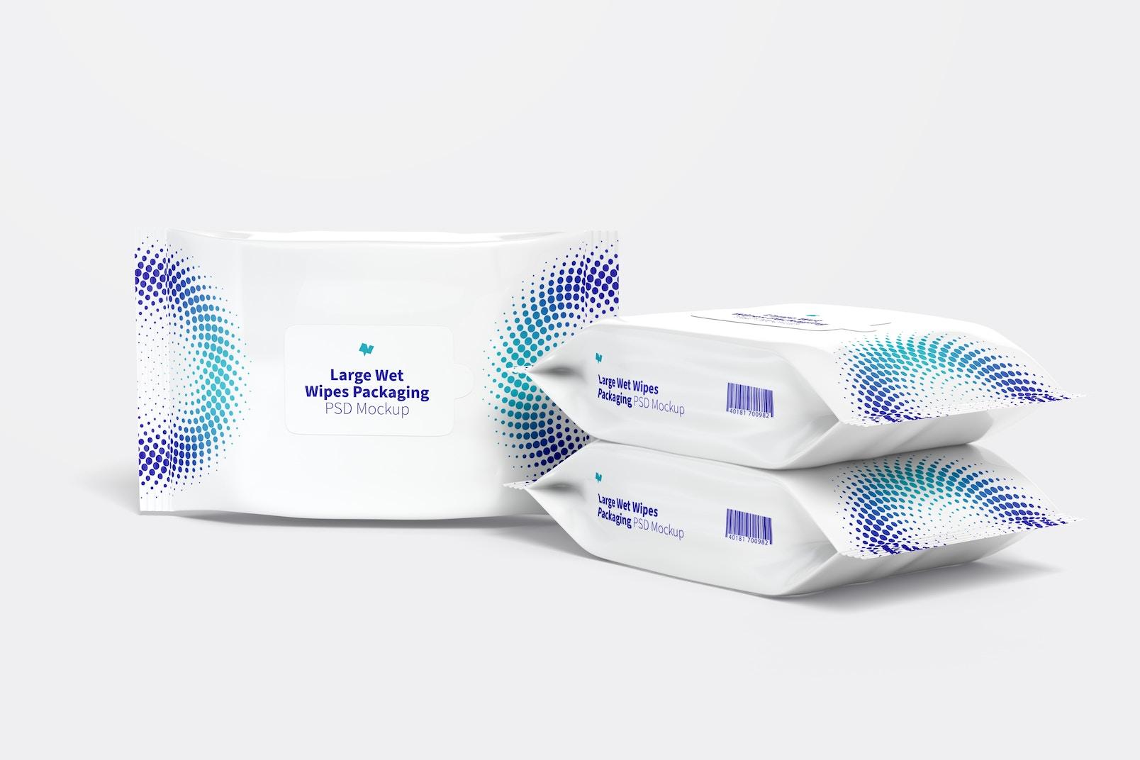Large Wet Wipes Packaging Set Mockup