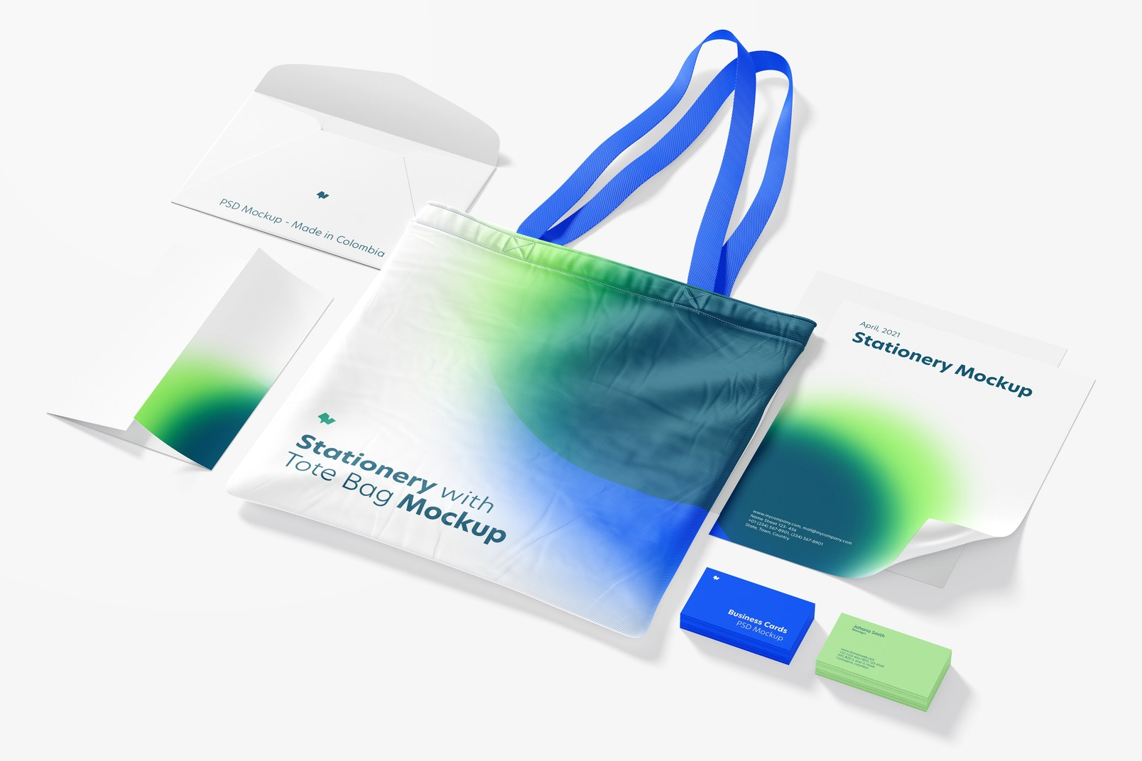 Stationery with Tote Bag Mockup, Perspective View